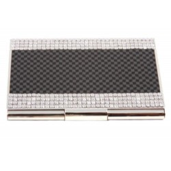 CR-8035 Swarovski Metal Card Holder in Carbon Fiber Design