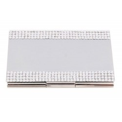 CR-8035 Swarovski Metal Card Holder in Silver Color