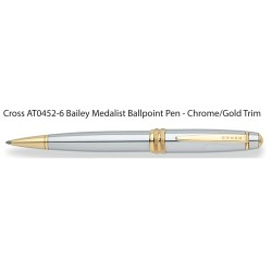 AT0452-6 Cross Bailey Medalist Ballpoint Pen - Chrome/Gold Trim