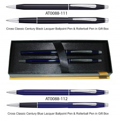 Cross Classic Century Black and Blue Lacquer Ballpoint Pen & Rollerball Pen in Gift Box